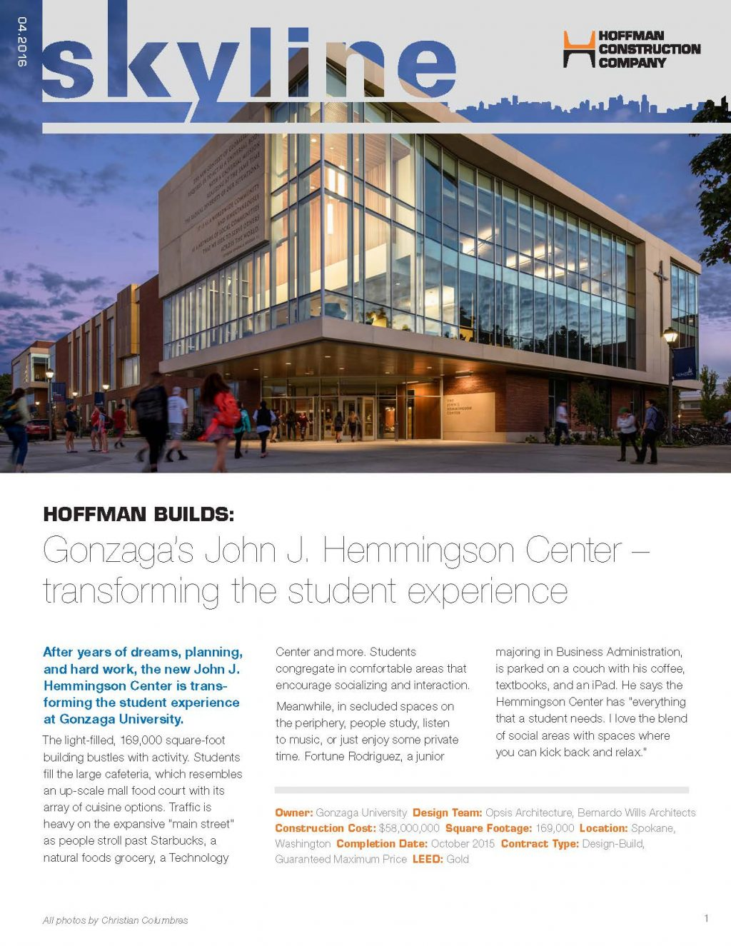 Gonzaga-Hemmingson-Center, Skyline Magazine, Hoffman Construction Company